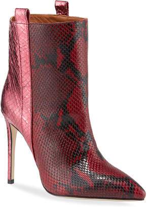 Paris Texas Metallic Snake-Embossed Stiletto Booties