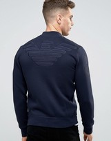 Armani Jeans Sweat Bomber Jacket With Back Eagle Logo In Navy