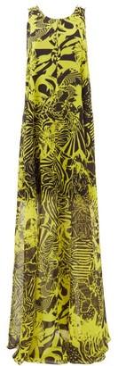 Halpern Abstract-print Trapeze Crepe Maxi Dress - Womens - Yellow Print