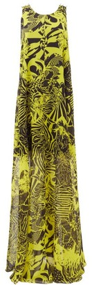Halpern Abstract-print Trapeze Crepe Maxi Dress - Yellow Print
