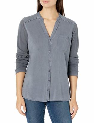 Splendid Women's Long Sleeve Mandarin Collar Button Up Shirt
