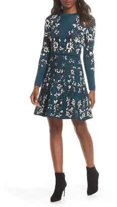 Eliza J Floral Long Sleeve Fit & Flare Sweater Dress