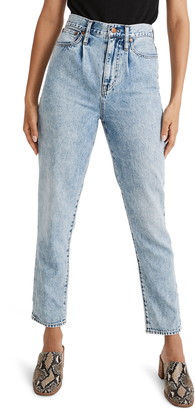 Madewell The Pleated Momjean Crop High Waist Jeans