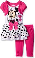 Disney Little Girls 2 Piece Minnie Mock Shrug Tunic and Legging Set