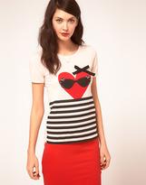 Sonia Rykiel Sonia By Heart & Stripe T Shirt