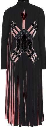Valentino Appliqued Pleated Silk Crepe De Chine Midi Dress