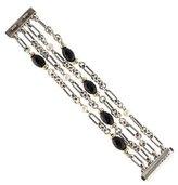 David Yurman Two-Tone Onyx & Pearl Figaro Link Bracelet