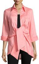 Neiman Marcus Linen Tie-Front Blouse, Pink