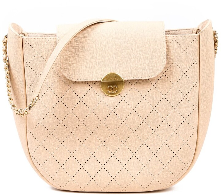 Chanel Beige Quilted Leather Flap Hobo Bag