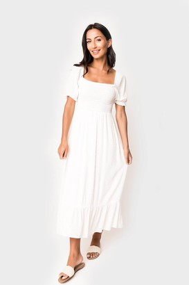 Gibson x Hello Happiness Puff Sleeve Smocked Maxi Dress