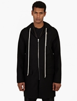 Rick Owens Black Wool Hooded Coat