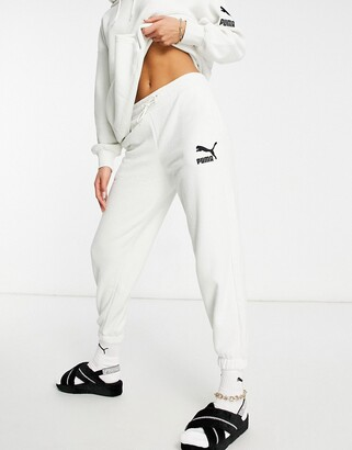 Puma fleece joggers in off white