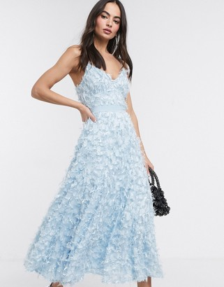 Forever U midi dress with fringe 3D fabrication in powder blue