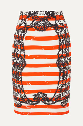 Prada Printed Cotton-poplin Skirt - Orange