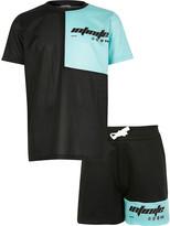 River Island Boys RI Active black blocked T-shirt outfit