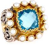Konstantino Amphitrite Cushion Topaz & Multi-Pearl Statement Ring, Size 7