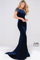 Jovani Cap Sleeve Fitted Velvet Prom Dress Jvn41449