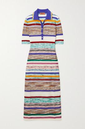 Missoni Striped Crochet-knit Stretch-silk Midi Dress - White