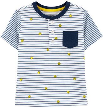 Osh Kosh Toddler Boy Striped Smiley Faces Pocket Henley Top