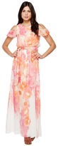 Vince Camuto Printed Chiffon Maxi with Ruffle Bodice Women's Dress