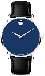 Movado Museum Classic Blue Dial Leather Strap Watch, 40mm