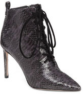Delman Snakeskin Lace-Up Boots