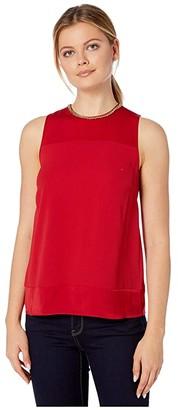 MICHAEL Michael Kors Neo Drapey Combo Top (Black) Women's Clothing