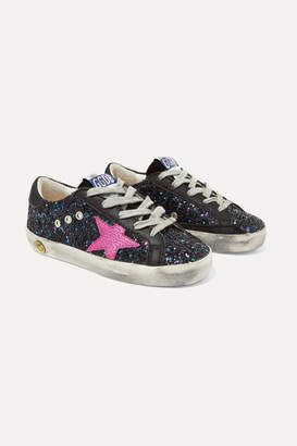 Golden Goose Kids - Size 19 - 27 Superstar Distressed Glittered Leather Sneakers