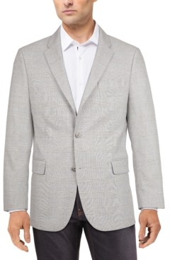 Tommy Hilfiger Men's Modern-Fit Gray/Blue Plaid Sport Coat