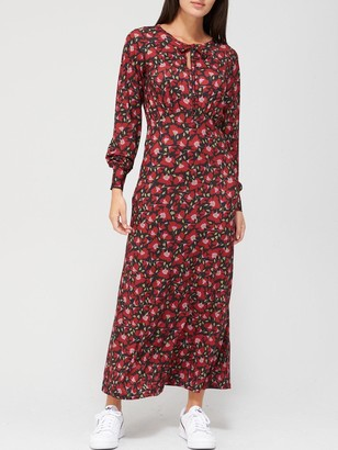 Very Keyhole Midaxi Dress - Red Floral