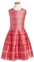 Oscar de la Renta Girl's Lace Bands Mikado Party Dress