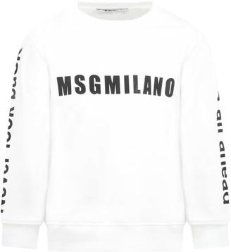 MSGM White Sweatshirt For Kids With Logo