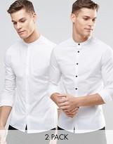 Asos Skinny Shirt 2 Pack With Grandad Collar