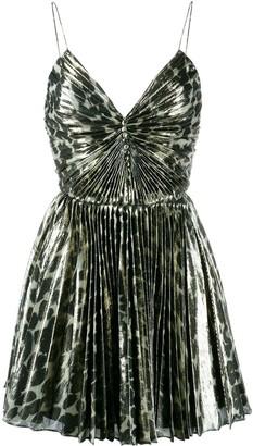 Saint Laurent Leopard Print Pleated Mini Dress