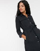 Pimkie midi denim button front shirt dress in black