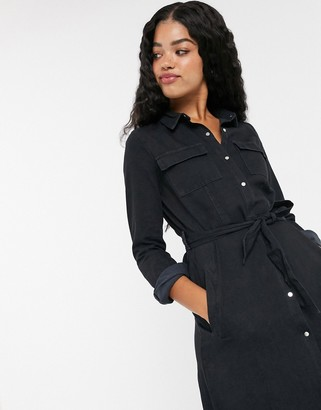 Pimkie midi denim button front shirt dress in black