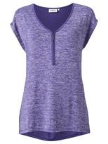 Jeanswest Arianna Zip Front Tee-Hycinth Marle-XXS