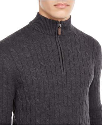 Club Room Men Pima Cable Quarter-Zip Sweater