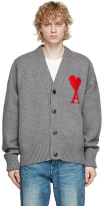 Ami Alexandre Mattiussi Grey Wool Oversize Ami De Coeur Cardigan
