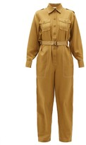 Zimmermann Wavelength Topstitched Silk Jumpsuit - Womens - Khaki