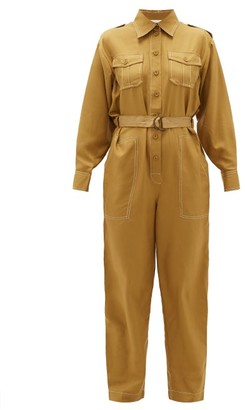 Zimmermann Wavelength Topstitched Silk Jumpsuit - Khaki