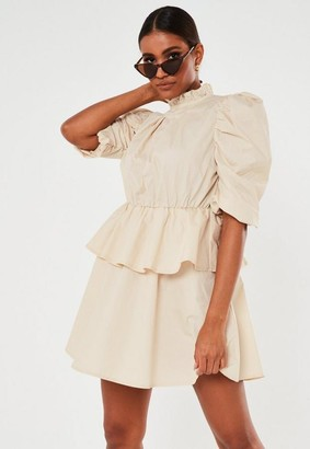 Missguided Stone Puff Sleeve High Neck Smock Dress