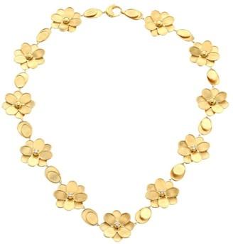 Marco Bicego Petali 18K Yellow Gold & Diamond Flower Collar Necklace