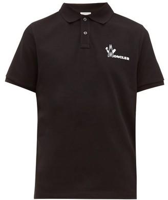 Moncler Logo-print Cotton-pique Polo Shirt - Black