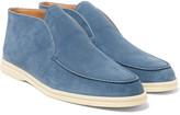 Loro Piana Open Walk Suede Loafers - Blue
