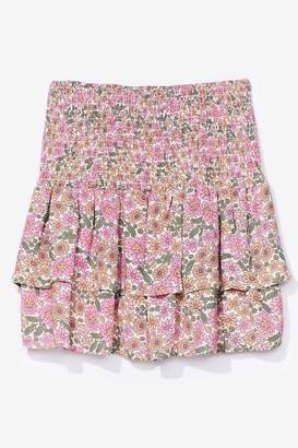 Nasty Gal Womens floral shirred ruffle hem mini skirt - Pink - 8