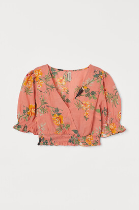 H&M Cropped Puff-sleeved Blouse