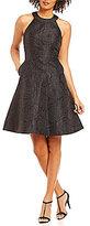 Calvin Klein Halter Neck Sleeveless Fit & Flare Solid Jacquard Dress