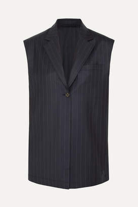 Wright Le Chapelain - Pinstriped Wool Vest - Navy