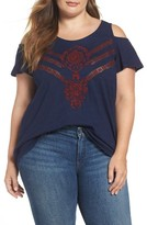 Lucky Brand Plus Size Women's Cold Shoulder Embroidered Top